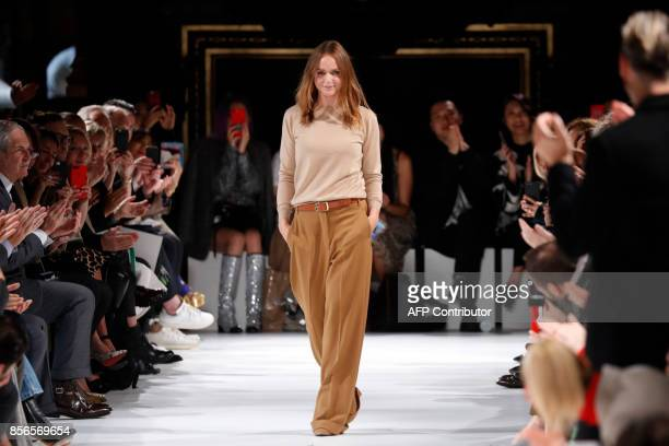 TOPSHOT Fashion designer Stella McCartney acknowledges the audience at the end of the women's 2018 Spring/Summer readytowear collection fashion show...