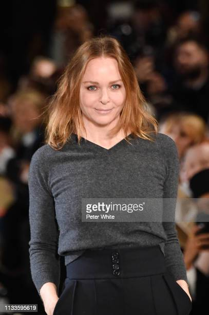 Fashion designer Stella McCartney walks the runway at the end of Stella McCartney show as part of the Paris Fashion Week Womenswear Fall/Winter...