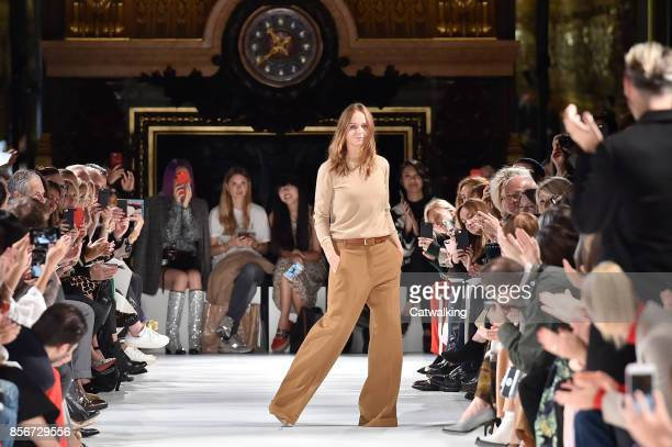 Fashion designer Stella McCartney walks the runway at the Stella McCartney Spring Summer 2018 fashion show during Paris Fashion Week on October 2...