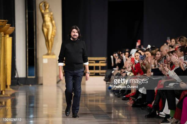Fashion designer Stephane Rolland walks the runway during the Stephane Rolland Haute Couture Spring/Summer 2020 show as part of Paris Fashion Week on...