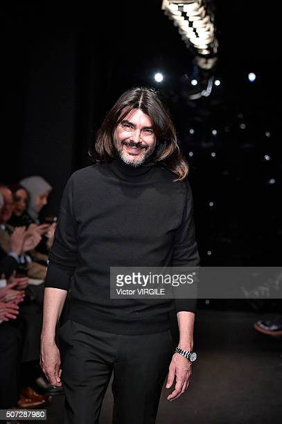 Fashion designer Stephane Rolland walks the runway during the Stephane Rolland Spring Summer 2016 show as part of Paris Fashion Week on January 26,...