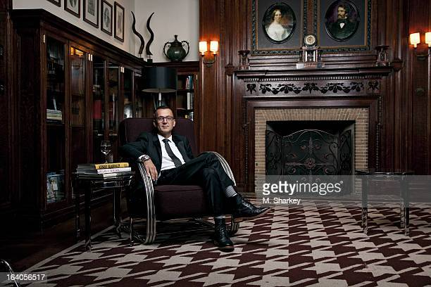 Fashion designer Steven Kolb is photographed for Out Magazine on September 19 2012 at the Stanford White Library in the Chatwal Hotel in New York City