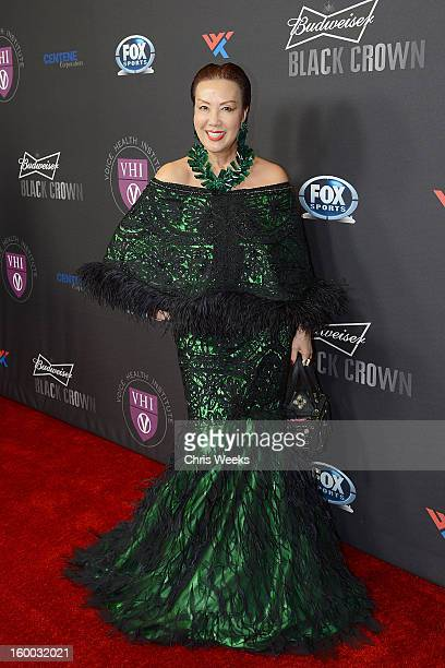 Fashion designer Sue Wong attends the Voice Health Institute's Raise Your Voice benefit at Beverly Hills Hotel on January 24 2013 in Beverly Hills...
