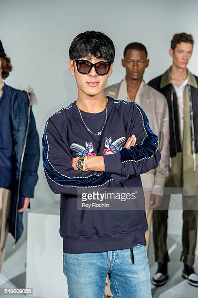 Fashion designer Taeyong Ko poses with his collection at the Beyond Closet Capsule Collection presentation during New York Fashion Week Men's S/S...