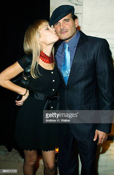 Fashion designer Tara Subkoff kisses celebrity stylist Philip Block at the 250th Anniversary Celebration of luxury watch brand Vacheron Constantin...