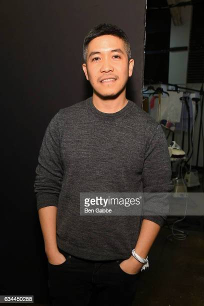 Fashion designer Thakoon Panichgul backstage during the Thakoon fashion show at New York Fashion Week at Cedar Lake on February 9 2017 in New York...