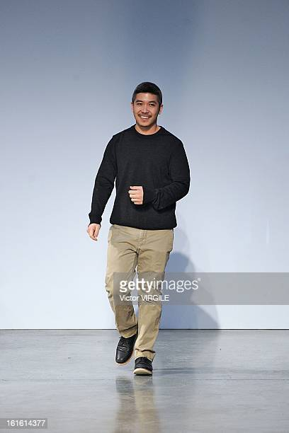 Fashion designer Thakoon Panichgul walks the runway at the Thakoon Ready to Wear Fall/Winter 20132014 fashion show during MercedesBenz Fashion Week...