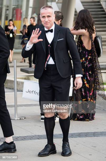 Fashion designer Thom Browne is seen arriving to the 2018 CFDA Fashion Awards at Brooklyn Museum on June 4 2018 in New York City