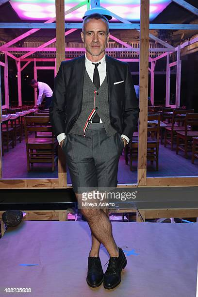 Fashion designer Thom Browne poses backstage at the Thom Browne Spring 2016 fashion show during New York Fashion Week at Skylight Modern on September...