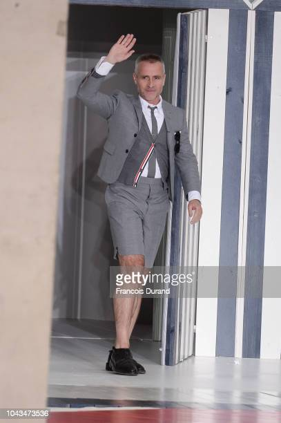 Fashion designer Thom Browne walks the runway during the Thom Browne show as part of the Paris Fashion Week Womenswear Spring/Summer 2019 on...