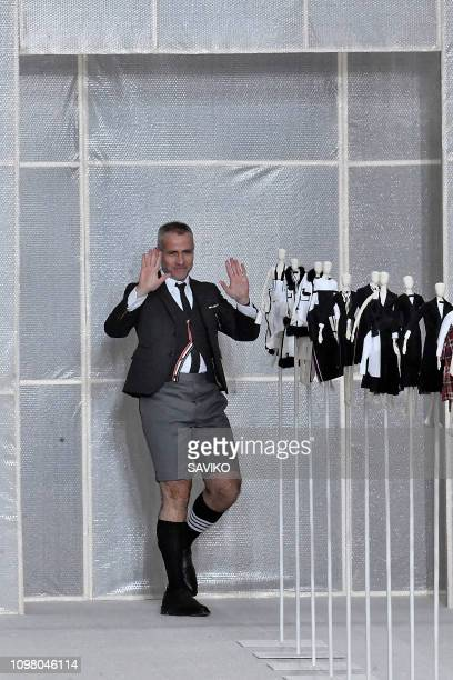 Fashion designer Thom Browne walks the runway during the Thom Browne Menswear Fall/Winter 20192020 fashion show as part of Paris Fashion Week on...