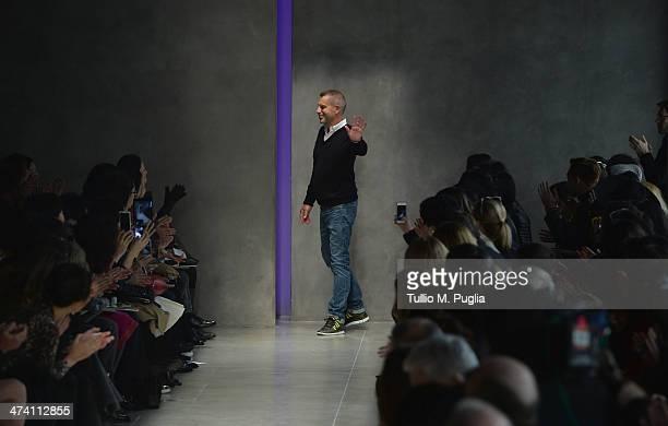Fashion designer Thomas Maier walks the runway after the Bottega Veneta show as part of Milan Fashion Week Womenswear Autumn/Winter 2014 on February...