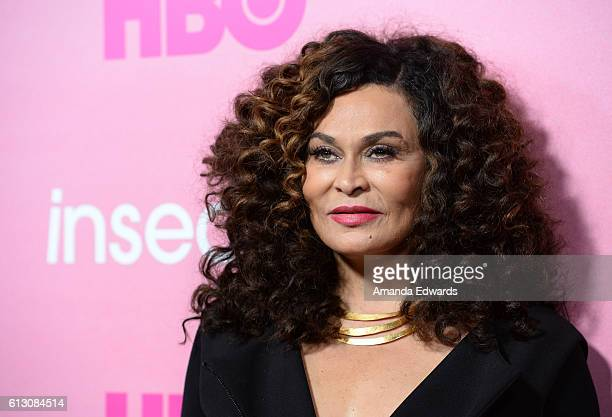 Fashion designer Tina Knowles arrives at the premiere of HBO's 'Insecure' at the Nate Holden Performing Arts Center on October 6 2016 in Los Angeles...