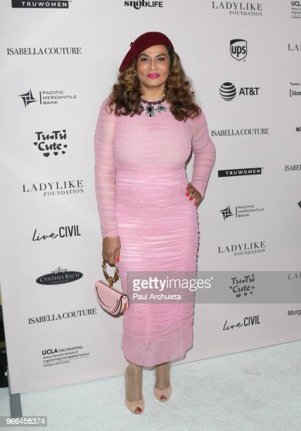 Fashion Designer Tina Knowles attends the Ladylike Foundation's 2018 Annual Women Of Excellence Scholarship Luncheon at The Beverly Hilton Hotel on...