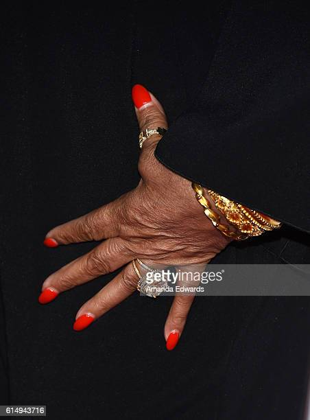 Fashion designer Tina Knowles jewelry and manicure detail arrives at the 2016 Children's Hospital Los Angeles Once Upon a Time Gala at the LA Live...