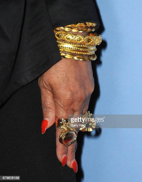 Fashion Designer Tina Knowles jewelry detail attends screening of Warner Bros Pictures' 'Everything Everything' at TCL Chinese Theatre on May 6 2017...
