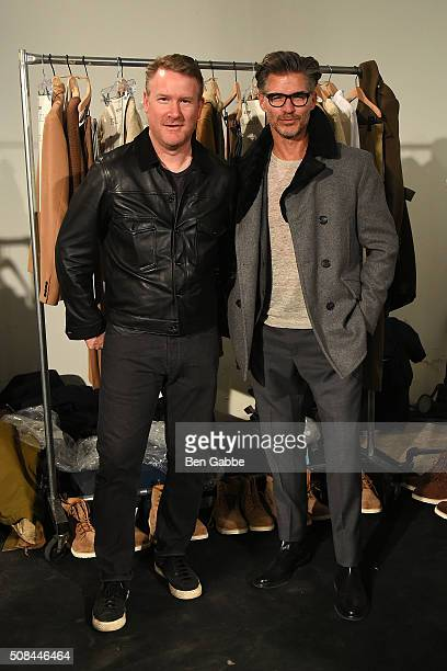 Fashion designer Todd Snyder and model Eric Rutherford backstage at the Todd Snyder fashion show during New York Fashion Week Men's Fall/Winter 2016...
