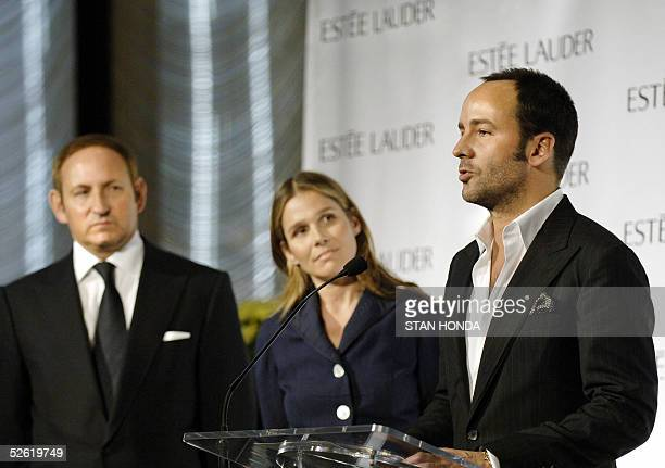 Fashion designer Tom Ford , Aerin Lauder , senior vice president Global Creative Directions of Estee Lauder, and John Demsey , Global Brand President...
