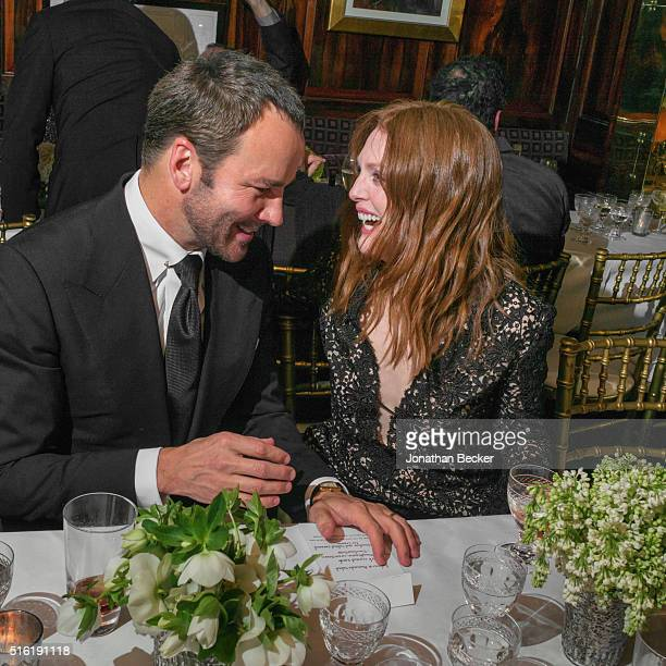 Fashion designer Tom Ford and actress Julianne Moore are photographed at the Charles Finch and Chanel's Pre-BAFTA on February 7, 2015 in London,...