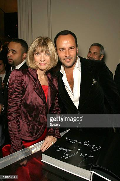 Fashion designer Tom Ford and American Vogue Editor Anna Wintour pose at the book launch party for 'Tom FordTen Years' at Bergdorf Goodman October 20...