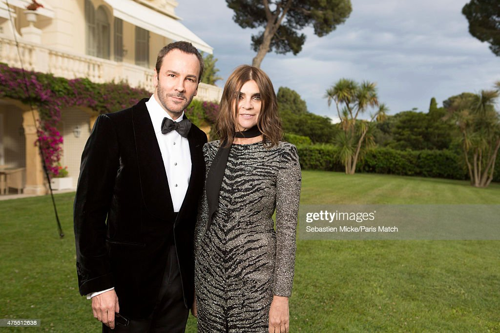 Fashion designer Tom Ford and Carine Roiteld attend the 22nd Gala for AmFar Cinema Against AIDS. Photographed for Paris Match at the Cap-Eden-Roc hotel on May 21, 2015 in Cap d'Antibes, France.