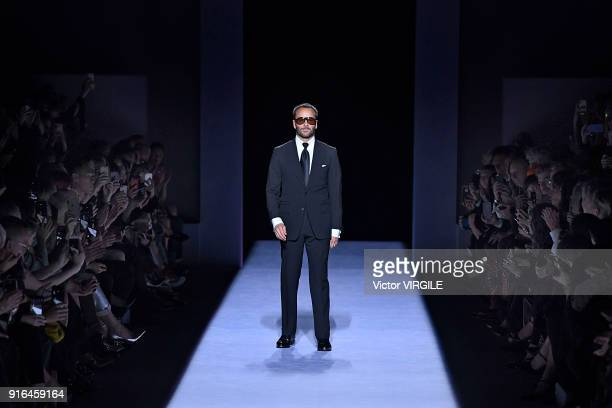 Fashion designer Tom Ford walks the runway at the Tom Ford Ready to Wear Fall/Winter 2018-2019 fashion show during New York Fashion Week at Park...