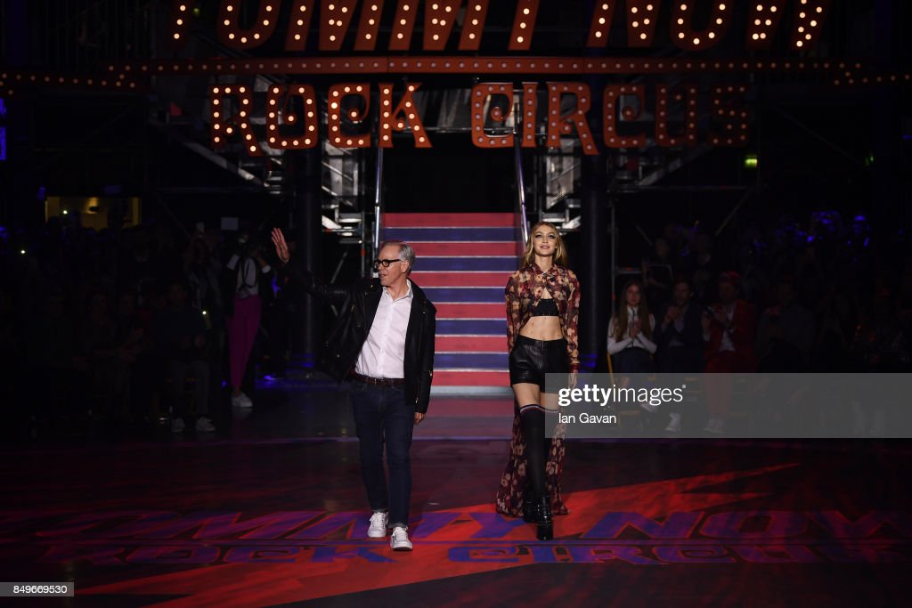 Fashion designer Tommy Hilfiger and model Gigi Hadid are seen on the runway at the Tommy Hilfiger TOMMYNOW Fall 2017 Show during London Fashion Week September 2017 at the Roundhouse on September 19, 2017 in London, England.