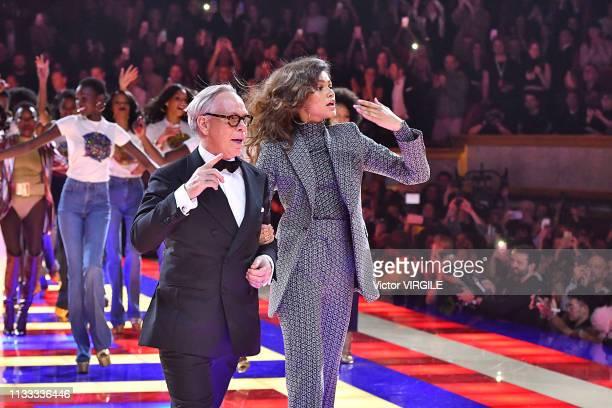 Fashion designer Tommy Hilfiger and Zendaya Coleman walk the runway during the Tommy Hilfiger TOMMYNOW Spring/Summer 2019 : TommyXZendaya Premieres...