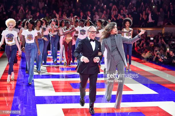Fashion designer Tommy Hilfiger Zendaya and models walk the runway during the Tommy Hilfiger TOMMYNOW Spring 2019 TommyXZendaya Premieres at Theatre...