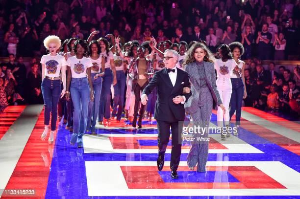 Fashion designer Tommy Hilfiger, Zendaya and models walk the runway during the Tommy Hilfiger TOMMYNOW Spring 2019 : TommyXZendaya Premieres at...