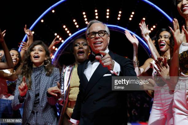 Fashion designer Tommy Hilfiger Zendaya Coleman and Grace Jones during the Tommy Hilfiger TOMMYNOW Spring 2019 TommyXZendaya Premieres at Theatre des...