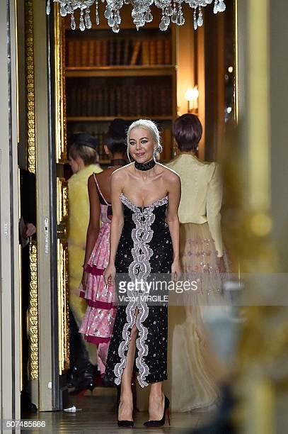 Fashion designer Ulyana Sergeenko walks the runway during the Ulyana Sergeenko Spring Summer 2016 show as part of Paris Fashion Week on January 27...
