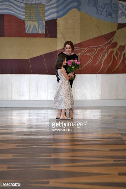Fashion designer Ulyana Sergeenko walks the runway during the Ulyana Sergeenko Haute Couture Fall Winter 2018/2019 fashion show as part of Paris...