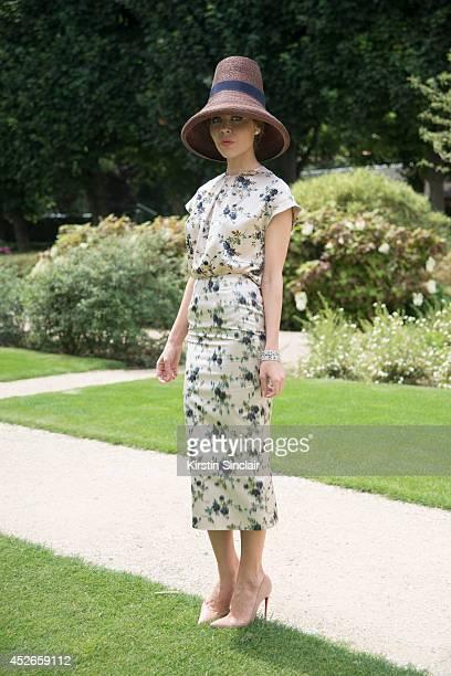 Fashion Designer Ulyana Sergeenko wearing a Rochas dress DSquared hat and Christian Louboutin shoes day 2 of Paris Haute Couture Fashion Week...