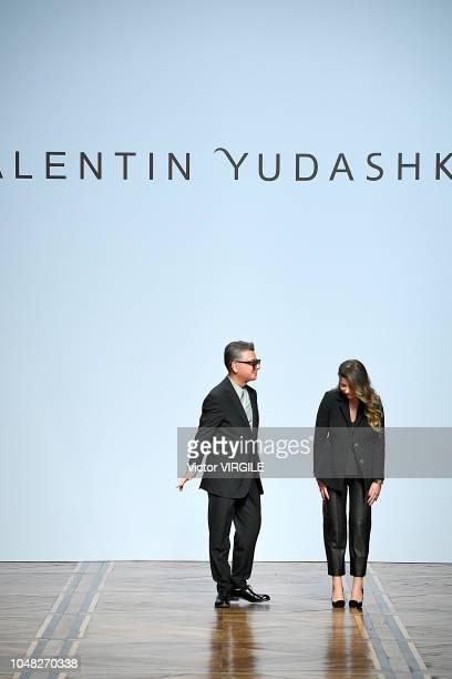 Fashion designer Valentin Yudashkin and his daughter Galina walk the runway during the Valentin Yudashkin Ready to Wear fashion show as part of the...