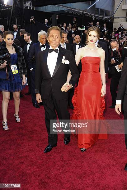 Fashion designer Valentino and actress Anne Hathaway arrive at the 83rd Annual Academy Awards held at the Kodak Theatre on February 27 2011 in...