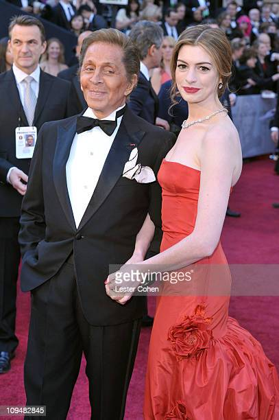 Fashion designer Valentino and actress Anne Hathaway arrive at the 83rd Annual Academy Awards held at the Kodak Theatre on February 27 2011 in Los...