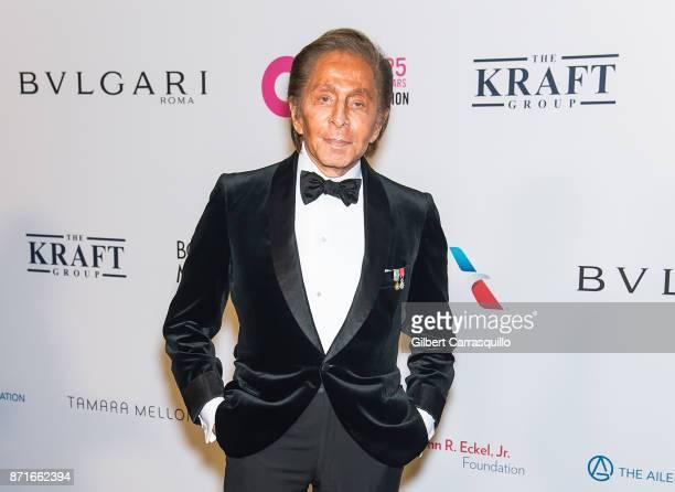 Fashion designer Valentino Garavani attends Elton John AIDS Foundation Commemorates Its 25th Year And Honors Founder Sir Elton John During New York...