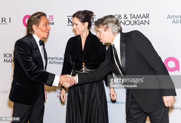 Fashion designer Valentino Garavani director Julie Taymor and composer Elliot Goldenthal attend Elton John AIDS Foundation Commemorates Its 25th Year...