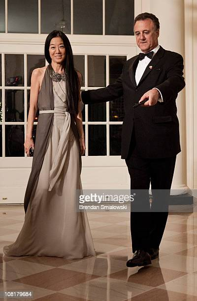 Fashion designer Vera Wang and Arthur Becker arrive at the White House for a state dinner 19 2011 in Washington DC President Barack Obama and first...