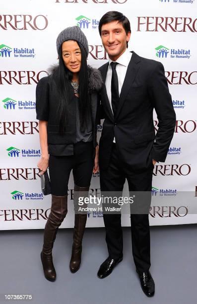 Fashion designer Vera Wang and Figure skating gold medalist Evan Lysacek attend Ferrero Chocolates and Evan Lysacek Fashion Event at Top of the...