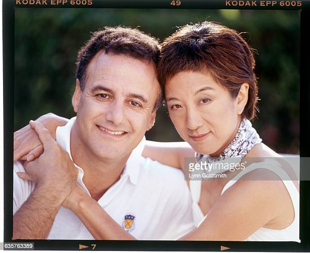 Fashion designer Vera Wang and her husband Arthur Becker embrace.