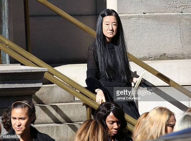 Fashion designer Vera Wang departs the funeral of fashion designer Oscar De La Renta at St Ignatius Of Loyola on November 3 2014 in New York City