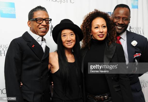 Fashion designer Vera Wang designer/honoree B Michael actress Tamara Tunie and musician Gregory Generet attend the 2013 Skating With The Stars...
