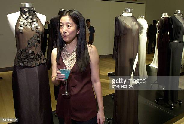 Fashion designer Vera Wang stands next to the room she created for the China Without Borders exhibition 19 June at Sotheby's in New York The...