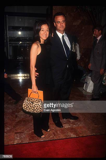 Fashion designer Vera Wang stands with an unidentified man at Donald Trump's 50th birthday celebration June 13 1996 in New York City Real estate...