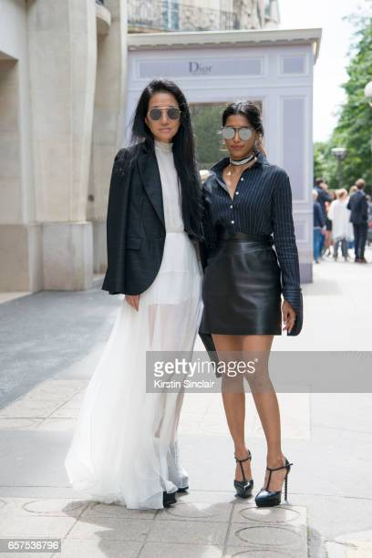 Fashion designer Vera Wang wears a Dior dress and jacket with Fashion PR agent Priya Shukla wearing an Azzedine Alaia skirt Dior sunglasses Rosie...