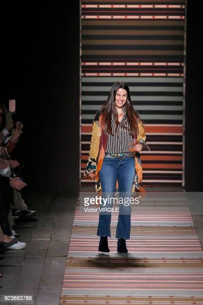 Fashion designer Veronica Etro walks the runway at the Etro Ready to Wear Fall/Winter 20182019 fashion show during Milan Fashion Week Fall/Winter...