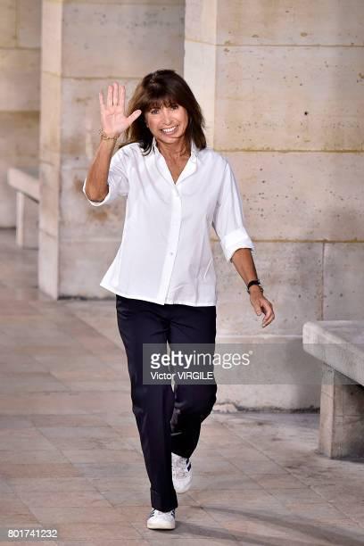 Fashion designer Veronique Nichanian walks the runway during the Hermes Menswear Spring/Summer 2018 show as part of Paris Fashion Week on June 24...