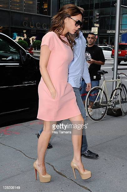 Fashion designer Victoria Beckham enters the Prada 5th Avenue Store on September 15 2011 in New York City